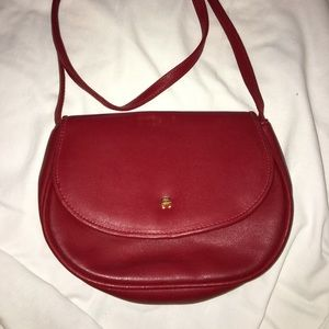 P18 - Etienne Aiger small red leather bag.